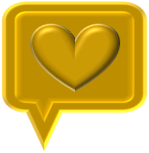 Golden speech icon box with Gold heart in center